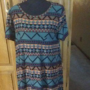 LuLaRoe Tribal Print Midi Dress Large EUC